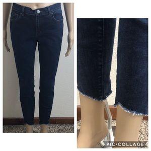Ann Taylor LOFT Raw Hem Dark Wash Legging Jeans